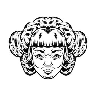 Tatuagem e design de camiseta em preto e branco ilustração de rosto de mulher