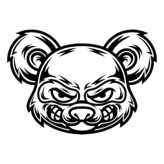 Tatuagem e design de camiseta em preto e branco ilustração do panda