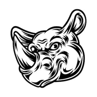 Tatuagem e design de camiseta em preto e branco rhino ilustração