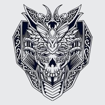 Tatuagem e design de t-shirt preto e branco desenhado à mão lobo e crânio