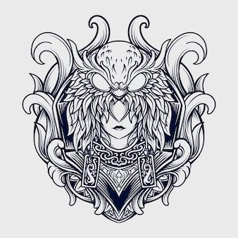 Tatuagem e design de t-shirt preto e branco desenhado à mão mulheres e coruja