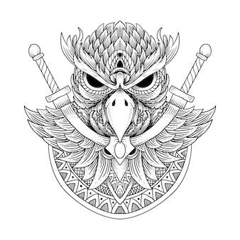 Tatuagem e t-shirt desenho de coruja e mandala