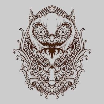 Tatuagem e t-shirt desenho de coruja e máscara de abóbora de halloween gravura ornamento