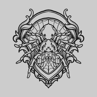 Tatuagem e t-shirt desenho preto e branco mão desenhada aranha gravura ornamento
