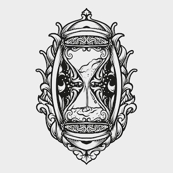 Tatuagem e t-shirt design ampulheta gravura ornamento