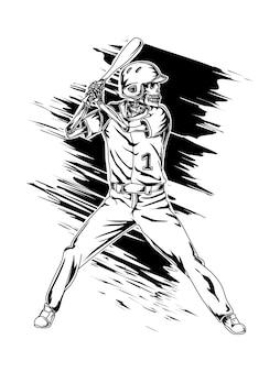 Tatuagem e t-shirt design beisebol esqueleto premiu