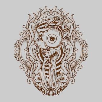 Tatuagem e t-shirt design globo ocular em esqueleto ornamento de gravura à mão