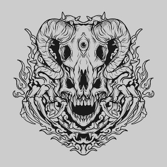 Tatuagem e t-shirt design preto e branco desenhado à mão crânio e crânio de cabra