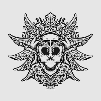Tatuagem e t-shirt design preto e branco desenhado à mão crânio e ornamento de gravura de asa de anjo
