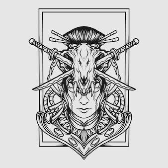 Tatuagem e t-shirt design preto e branco desenhado à mão cyborg gueixa crânio