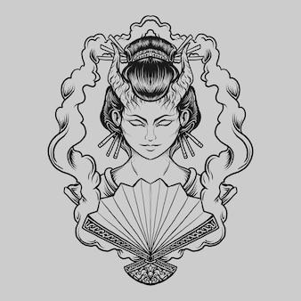 Tatuagem e t-shirt design preto e branco desenhado à mão diabo gueixa