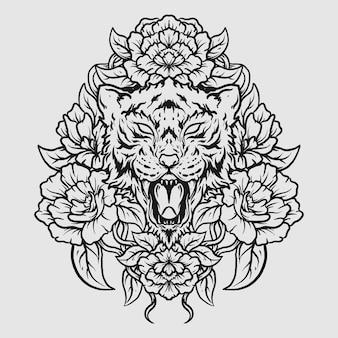 Tatuagem e t-shirt design preto e branco desenhado à mão tigre e ornamento de gravura de flores