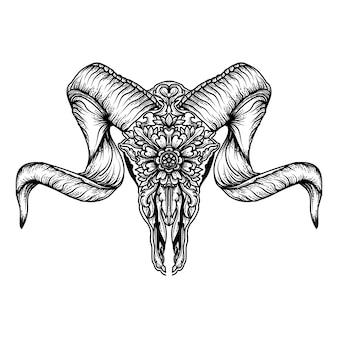 Tatuagem e tshirt design chifre de cabra crânio ornamento floral premium