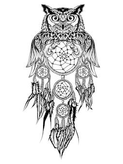 Tatuagem e tshirt design coruja e apanhador de sonhos premium