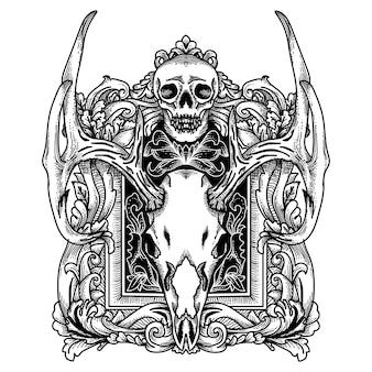 Tatuagem e tshirt design crânio de veado com moldura borda ornamento mão desenhada premiun