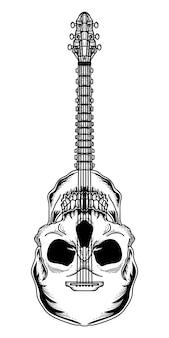 Tatuagem e tshirt design guitarra crânio premium