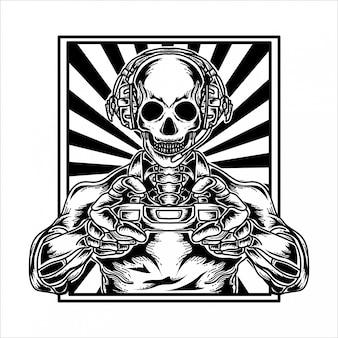 Tatuagem e tshirt design jogadores de esqueleto premium
