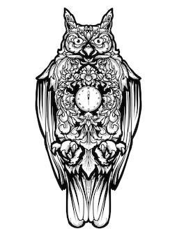 Tatuagem e tshirt design relógio coruja
