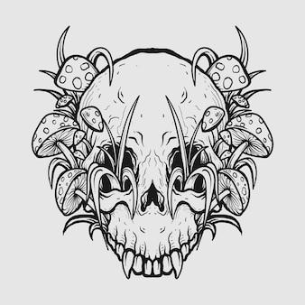 Tatuagem em preto e branco desenhado à mão, caveira e cogumelo