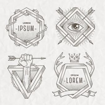 Tatuagem estilo linha arte emblema com elementos heráldicos e forma impossível - ilustração