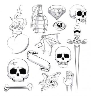 Tatuagem, estúdio, escola velha, desenhos