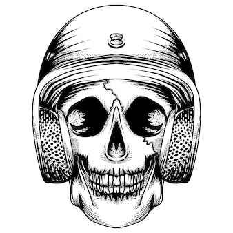 Tatuagem et crânio de design de camiseta com capacete