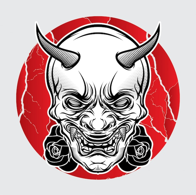 Tatuagem japonesa de máscara oni