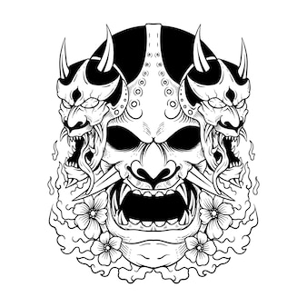 Tatuagem japonesa máscara oni hannya o tradicional japonês demoníaco ilustração máscara oni e camiseta