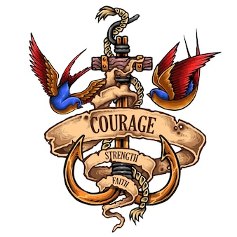 Tatuagem náutica da âncora com andorinha