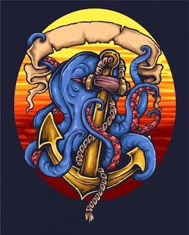 Tatuagem náutica do polvo da âncora
