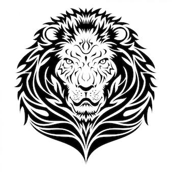 Tatuagem tribal de cabeça de leão