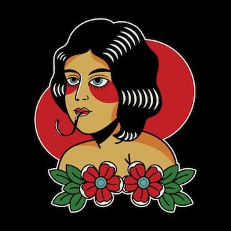 Tatuagem vintage cobra mulher retro