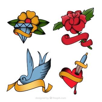 Tatuagens de flores e pacote de pássaro
