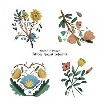 Tatuagens flor coleção mão desenhada
