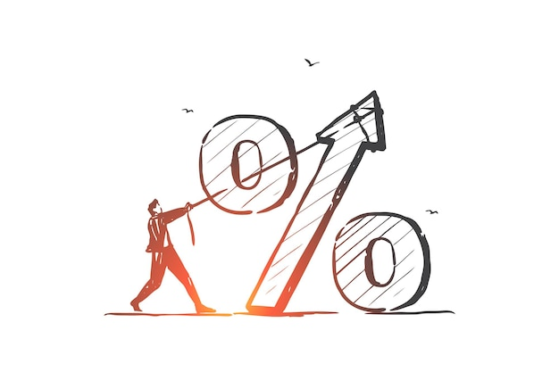 Taxa de juros, economia, ilustração do esboço do conceito de porcentagem do empréstimo bancário