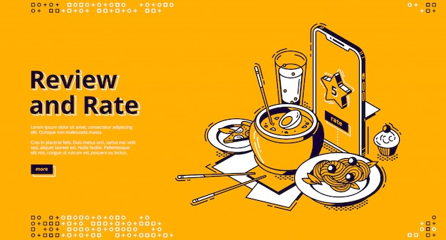 Taxa de restaurante, bandeira isométrica de revisão do cliente