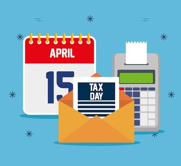 Taxa de serviço com telefone e calendário financeiro