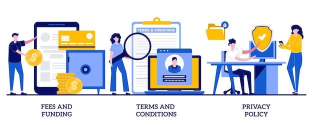 Taxas e financiamento, termos e condições, conceito de política de privacidade com pessoas minúsculas. conjunto de ilustração de página de informações do site. custo do serviço, taxa de assinatura, barra de menu do site, interface do usuário, metáfora ux.