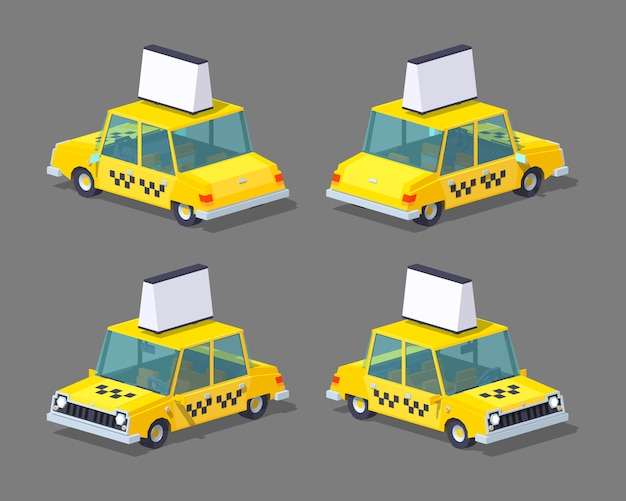 Táxi 3d sedan isométrico lowpoly