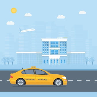 Táxi amarelo da máquina, conceito de serviço de táxi.
