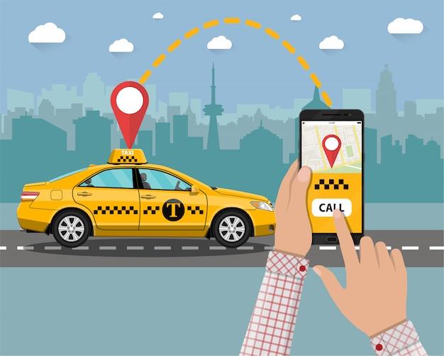 Táxi amarelo. mãos, smartphone, aplicação