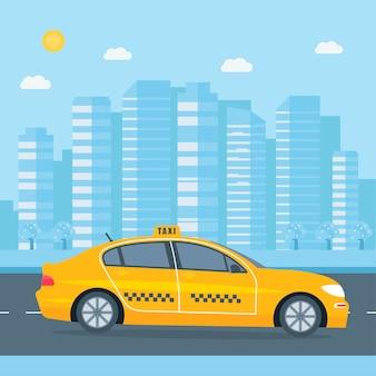 Táxi amarelo na cidade. conceito de serviço público de táxi. Vetor Premium