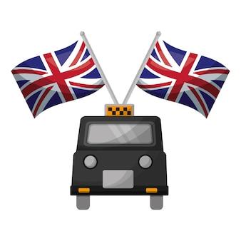 Táxi clássico com bandeiras da grã-bretanha
