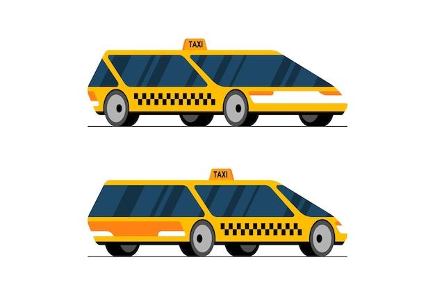 Táxi com direção automática dianteira e traseira do carro com vista em perspectiva amarela futurista de conceito não tripulado.