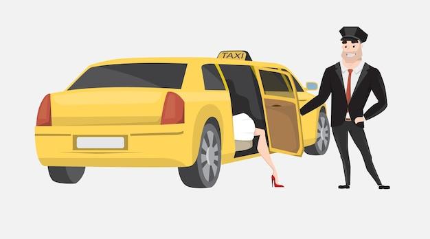 Táxi com motorista e passageiro isolado no branco