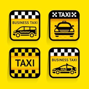 Táxi - conjunto de adesivos quadrados sobre o fundo amarelo