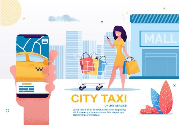 Táxi da cidade, compartilhamento de carro e serviço de aluguel no celular.