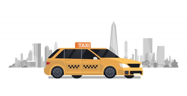 Táxi de carro de táxi amarelo sobre fundo de cidade de silhueta