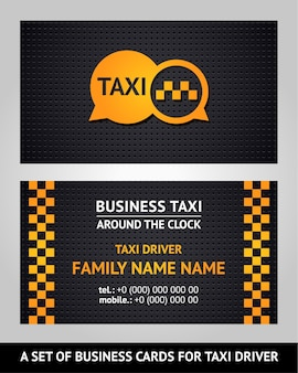 Táxi de cartões de visita, modelo de ilustração vetorial 10eps