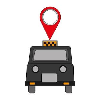 Táxi de londres com design ilustração pin localização vector